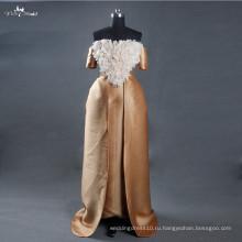 LZ165 Алибаба Египет праздновать платья Золотые свадебные платья со съемной поезд ручной цветы