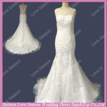 RP0095 100% de qualidade superior personalizado marfim francês laço vestido de casamento chinês vestido de noiva exótica vestido de noiva sereia peixe-pescoço