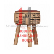 Industrial Leather/Canvas Wooden Legs Round Printed Stool