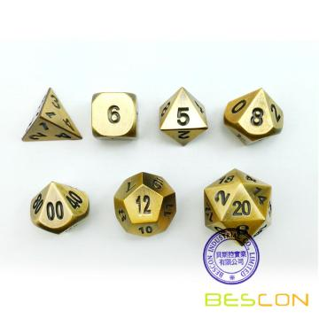 Bescon Brass Solid Metal Polyédrique D & D Dice Set de 7 Copper Metal RPG Role Playing Game Dice 7pcs Set