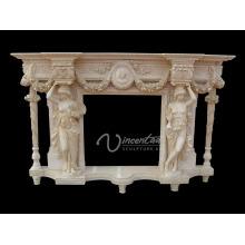 Décoration de la maison sculptures en pierre et sculptures blanc naturel marbre cheminée bon marché mantel