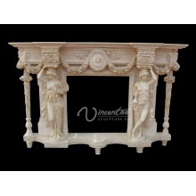 Home decoration stone carvings and sculptures white natural marble cheap fireplace mantel
