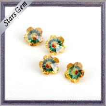 Belle vente chaude fleur forme multi-couleur zircon cubique