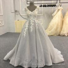 Фабрика оптовые серые спинки элегантный вечернее платье цветок вечернее платье