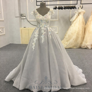 Vestido de noche elegante sin respaldo de la flor del vestido formal gris al por mayor de la fábrica