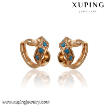 93393 Fancy design special shape copper alloy turquoise earring for ladies