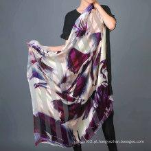 Nova lenço de seda com impressão digital com molho de mão