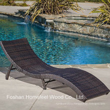 Открытый ПЭ Wicker Folding Chaise Lounge Chair