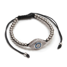 Mens Evil Eye Micro Diamonds Ágata Beads Pulseiras
