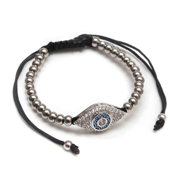 Mens Evil Eye Micro Diamonds Agate Beads Bracelets