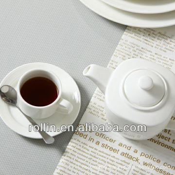 Stave lines style restaurant used white fine porcelain tea set, tea pot and tea cup wholesale