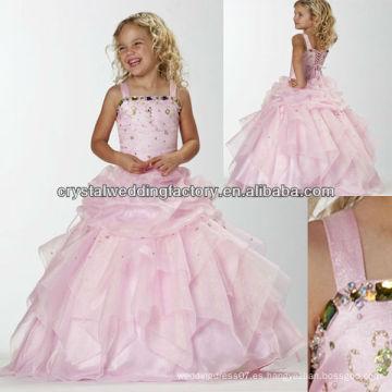 Los superventas rebordearon el vestido de bola rizado del vestido de bola de la muchacha de flor de la falda los vestidos baratos del desfile de los cabritos CWFaf5213