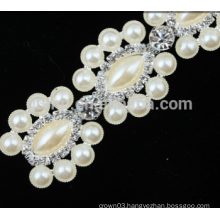 hot sale rhinestone trim chain with pearl trims for shoes