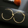 Women Simple love knot Big Gold Hoop Earrings