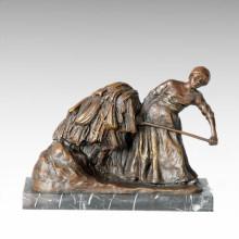 Statue de la Vie de l'Est Village Pic Bronze Figure Sculpture TPE-381