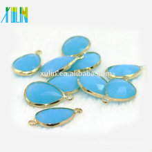 10*14mm Teardrop Drop Alabaster Aquamarine Crystal Glass Brass Silver Gold Pendant Faceted Connector Crystal Pendant CA004