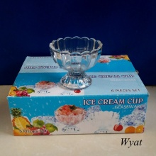 120ml 5oz Lotus Design Glass Ice-Cream Cup Glass Cup for Ice Cream