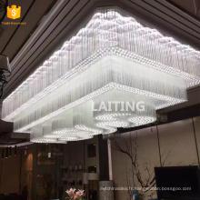 Grands lustres faits sur commande d'éclairage de plafond en cristal pour le lobby d'hôtels