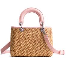 bolsos de paja de la playa del bolso del bolso de hombro de la señora tejida a mano de moda con asa de cuero