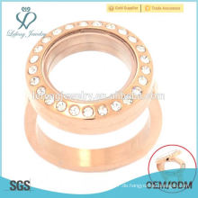 Rose Gold schwimmende Locket maßgeschneiderte Edelstahl Ringe, runde Kristall Ringe, Ringe Schmuck