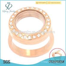 Porte-clés flottant en or rose, anneaux en acier inoxydable sur mesure, anneaux en cristal rond, anneaux bijoux