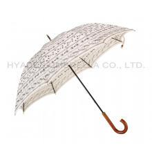 Regenschirm mit geradem Holzgriff