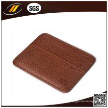Titular do cartão de nome comercial de couro PU de metal de alta qualidade por atacado (HJ8102)