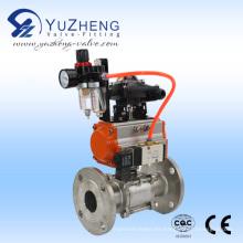Válvula de bola con bridas 3PC con actuador neumático