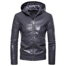 Cost-effective Men's Leather Jacket with Hood Custom