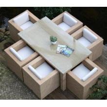 Artículo antiguo exterior Rattan muebles juego de comedor