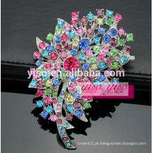 Prata tom folha trevo broche de cristal de flores