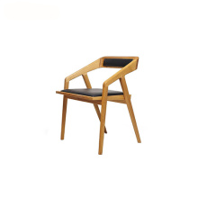 Trä Svart Läder Katakana Easy Dining Chair
