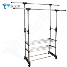 storage shelf with cloth hanger and clothes rack