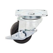 Roulement à billes double pivotant de 1,5 po Type de frein pivotant Roue à roulettes à profil bas en nylon