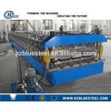 Paso de azulejos y rollo de doble capa de perfil de chapa ondulada que forma la máquina