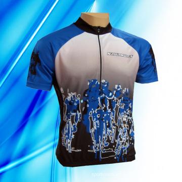 100% poliéster hombre de manga corta de ciclismo de Jersey