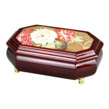 Wooden Jewellery Box with Tapestry Decoration Lid