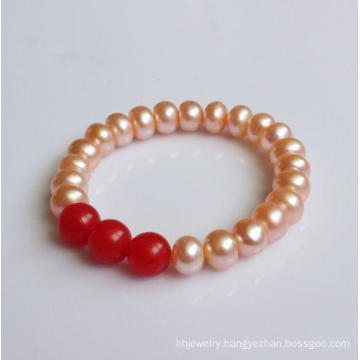 Natural Freshwater Pearl with Red Agate Stretched Bracelet (EB1576)
