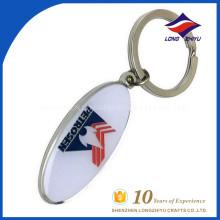 Chaîne porte-clés à prix bon marché avec forme ovale avec votre propre logo
