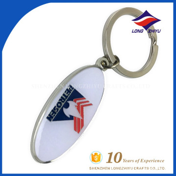 Oval shape custom cheap price key chain with your own logo