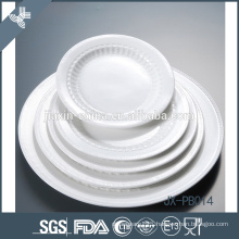 white porcelain tableware for hotel, simple round embossment dinner pate