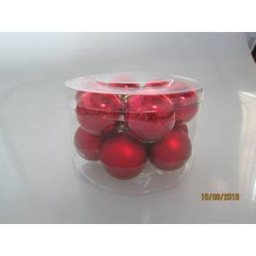 Set 12 Red Color Glass Ball for Christmas Decoration