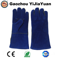 Blue Cow Split cuero de la industria de la soldadura guantes de seguridad de protección