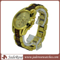 Gold Color Linked Marbling Plastic Band Fashion Wrist Watch