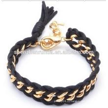 Мода ювелирные черный шнур вязаный браслет с золотой цепочкой Личность браслет для женщин
