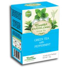 Peppermint aromatizado chá verde pirâmide chá saco superior mistura orgânica e UE compatível (ftb1511)