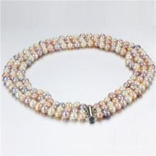 Snh 8-9mm ein Grad 3 Reihen Mehrfarbenperlen-Halsketten-Großverkauf