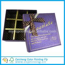 Boîtes en papier de cadeau de chocolat de marque de Yiwu avec le fabricant de ruban