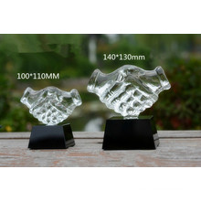 Glass Hand Award Business Gifts Shaking Hands Crystal Trophy
