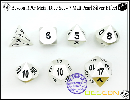 Bescon RPG Metal Dice Set - 7 Matt Pearl Silver Effect-3